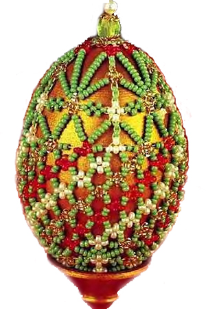 Egg Lawn. Netting eggs with beads