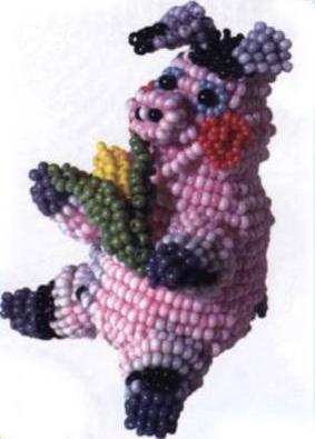 Pig. Animals beaded