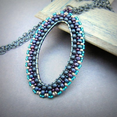 Oval beaded pendant