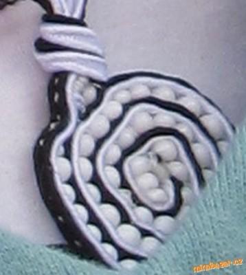 Fancy pendant in the technique of soutache