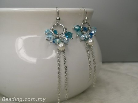 Earrings of blue faceted bicone
