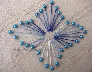 Вышивка цветка с бисером