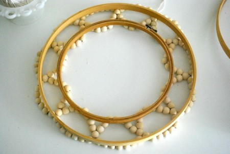 Summer wreath of wooden beads