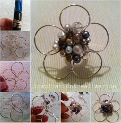 Оригинальный цветок из бисера и проволоки