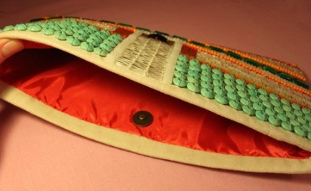 Embroidered beaded clutch bag