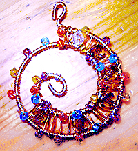 Spiral decoration from wire and beads