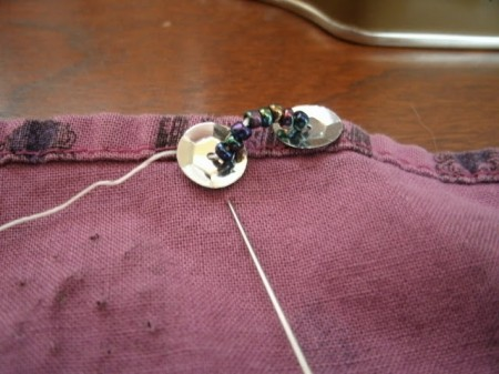 Learn to embroider. Beads and sequins.