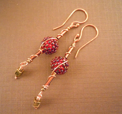 Long bead earrings, beads and wire