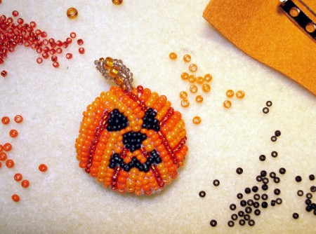 Embroidered pumpkin for Halloween