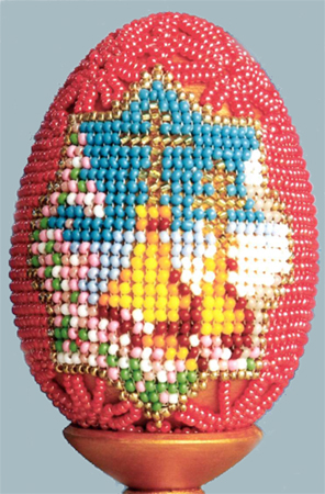Garnet and Gold domes. Easter eggs bead (schema)
