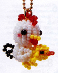 Cockerel chicken. Key chains beaded