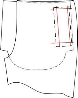 Обработка брюк: боковые карманы в рамку на передних частях половин брюк