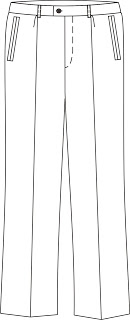 Treatment of trousers: side pockets on the front parts of the halves of the pants
