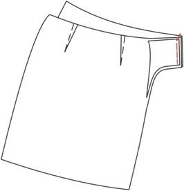 Treatment of the skirt: the upper section with the facing