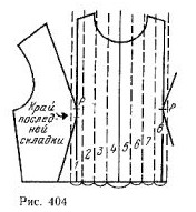 The bodice of adjoining silhouette with a parallel vertical folds