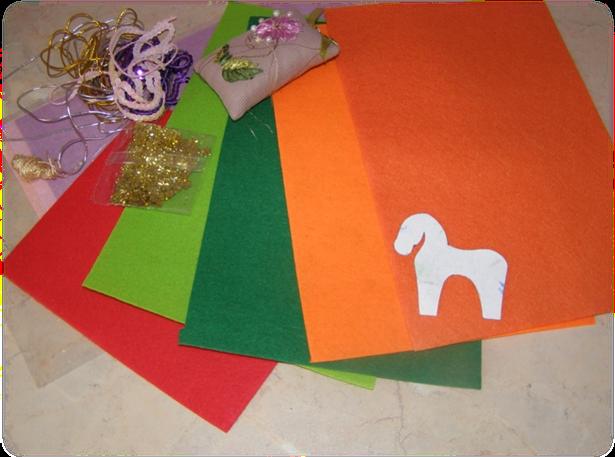 Материалы для изготовления новогодней лошадки