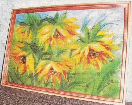 Sunflowers. Watercolor wool