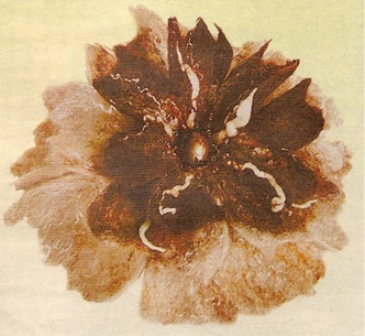 Flower-brooch Scent of cocoa. Wet felting