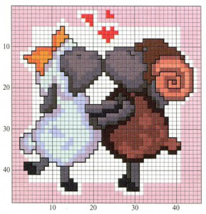 Happy lamb. Cross stitch for beginners