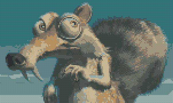 The squirrel from Ice age. Schematic cross stitching