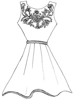 Dress with embroidered bodice