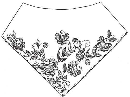 Poncho with embroidered roses