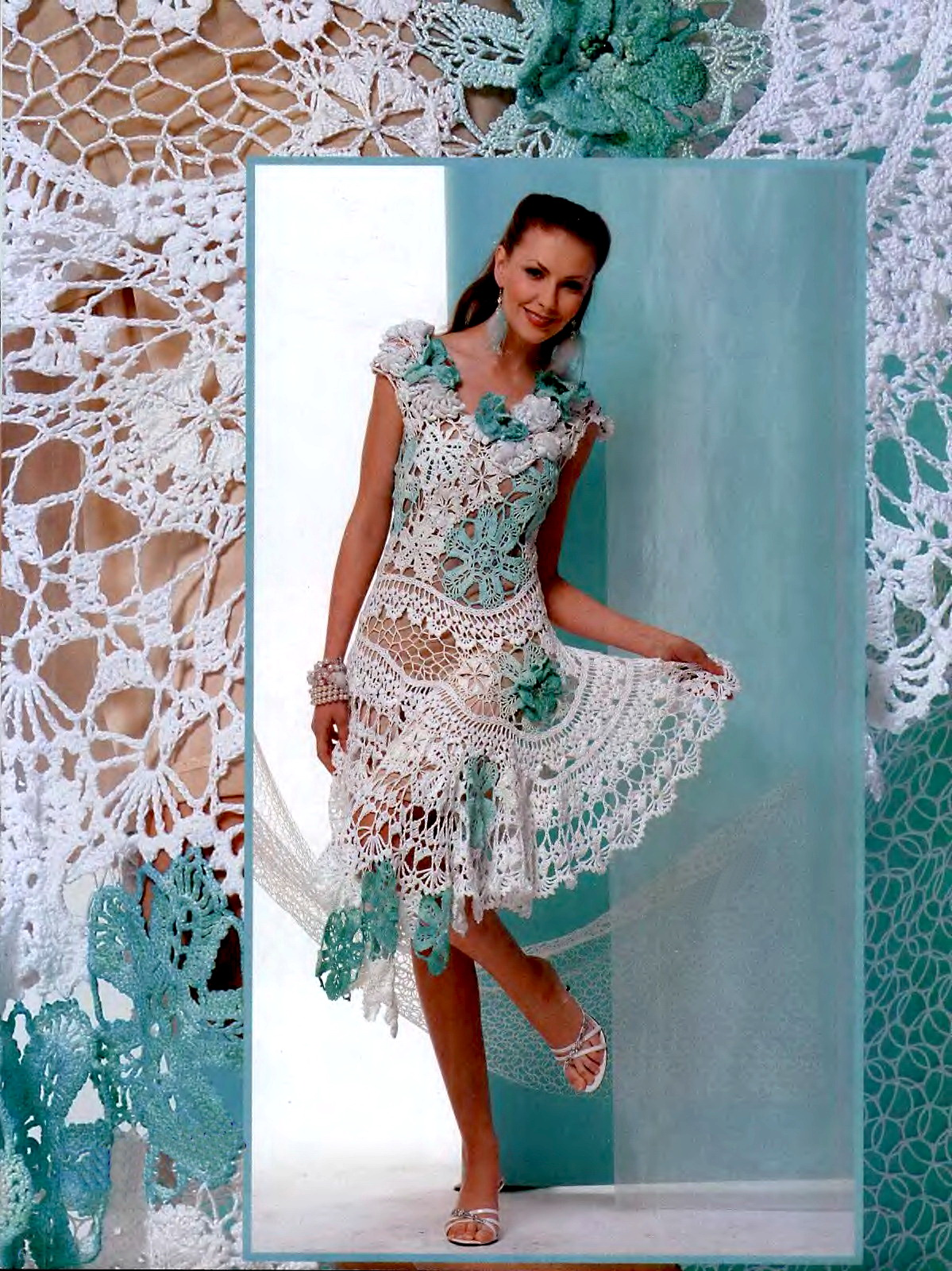 Ажурное платье связанное в техниках гипюрного и брюггского кружева