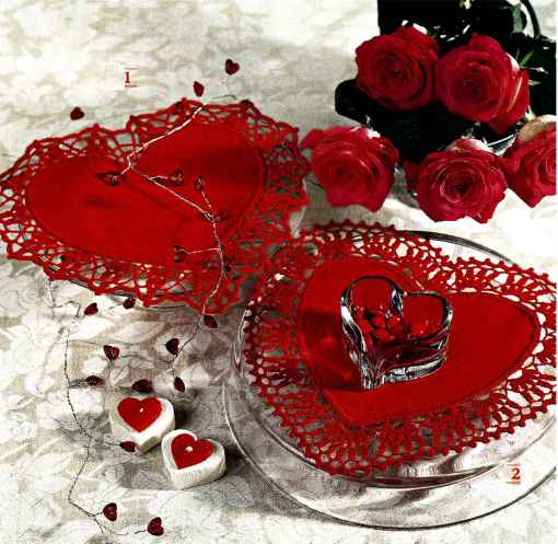 Красные салфетки валентинки