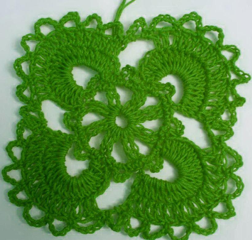 Узор цветок крючком с четырьмя лепестками