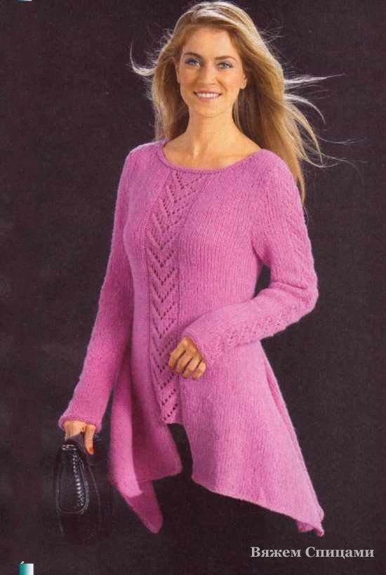 Tunic Tails with openwork stripes vertically. Knitting