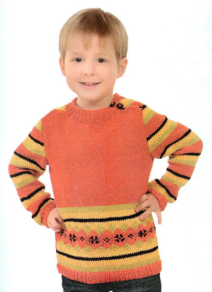 пуловер с жаккардовой вставкой